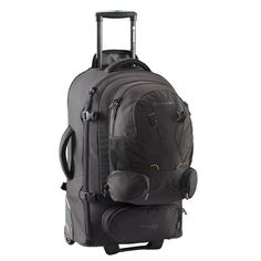The innovative Sky Master 70 Wheeled Trolley Backpack with zip-off detachable day pack and communications pocket pack is one of the most advanced. Carry On Luggage, Travel Luggage, Travel Bags, Hiking Backpack, Travel Backpack, Fashion Backpack, Backpack With Wheels, Black Backpack, Dobby Fabric