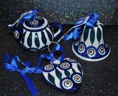 NEW S/3 Boleslawiec Polish Pottery Ornament TEAPOT HEART BELL PEACOCK Pattern