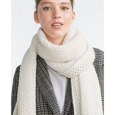 Zara Knit Scarf ($20) ❤ liked on Polyvore featuring accessories, scarves, white, knit shawl, zara scarves, white shawl, white scarves and knit scarves