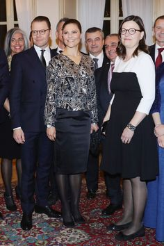 Prince Daniel of Sweden, Minister for Upper Secondary School and Adult Education and Training Anna Ekström and Princess Victoria of Sweden attend a party honouring the Swedish Crown Couple and Minister Ekstrom in Milan on December 16, 2016 in Milan, Italy.