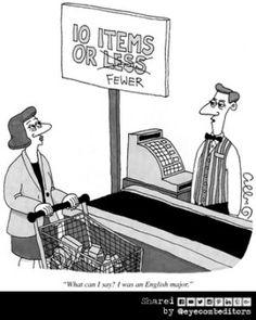 Cartoons are a great way of teaching grammar and vocabulary. This cartoon (from The New Yorker Cartoonbank) illustrates the sort of grammar item you might get tested on when taking the GMAT, TOEFL or TOEIC exams. Funny Grammar Mistakes, Grammar Memes, Grammar And Punctuation, Bad Grammar, Grammar Wall, Witty Jokes, Funny Jokes, Nerd Jokes, Hilarious