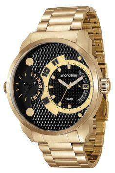 107dc5e9f83 78527GPMVDA2 Relógio Masculino Dourado Mondaine Multifunção