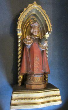 Infant Jesus of Prague Resin Wood Gilt Shrine by AtticEmporium Infant Of Prague, Religious Icons, Baby Jesus, Etsy Vintage, Jesus Christ, Serenity, The Past, Resin, Statue