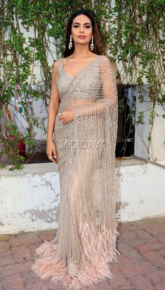 Top 51 Saree Blouse Designs (Latest and Stylish) - Saree Styles Saree Gown, Sari Dress, Lehenga Choli, The Dress, Lace Saree, Manish Malhotra Saree, White Saree, Indian Wedding Outfits, Bridal Outfits