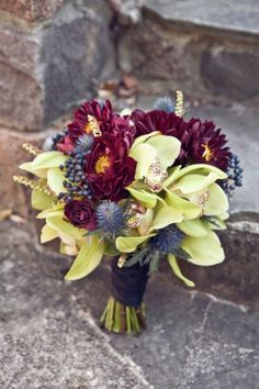 fall wedding bouquets maybe with some orange
