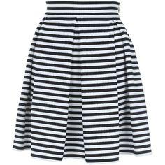 Jane Norman Mono Stripe Skater Skirt found on Polyvore