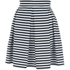Jane Norman Mono Stripe Skater Skirt ($47) ❤ liked on Polyvore