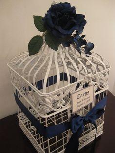Wedding Birdcage Card Box / Nautical Birdcage / Blue And White / Navy / Bird Cage Wedding Card Holder on Etsy, $65.00