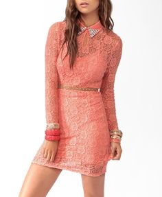Coral pink Forever 21 dress with gold accents: belt, bracelets