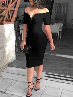 2019 Female Sexy Deep V-Neck Off Shoulder Bodycon Dress Women Short Sleeve Solid Sheath Midi Dress Vestidos Verano Color Black Size S Elegant Dresses, Sexy Dresses, Cute Dresses, Vintage Dresses, Casual Dresses, Fashion Dresses, Summer Dresses, Formal Dresses, Wedding Dresses