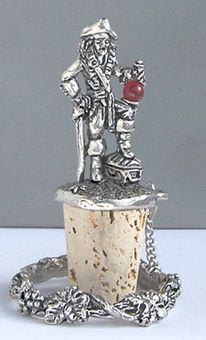 Pewter Pirate Cork Wine Bottle Stopper by Fellowship Foundry