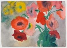 Emil Nolde, Blumenstilleben mit roten und gelben Blüten, 1930/1935, Auktion 923 Moderne Kunst, Lot 215 #diebruecke #thebridge