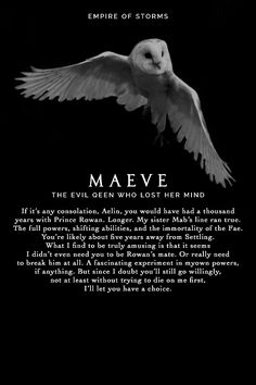 Empire of Storms - Maeve [Spoilers] typo its queen with a u ppl - torn between e. Empire of Storms - Maeve [Spoilers] typo its queen with a u ppl - torn between excitement cause Aelin ISNT going to Throne Of Glass Books, Throne Of Glass Series, Empire Of Storms, Sarah J Mass, Fantasy Names, Fantasy Character Names, Aelin Ashryver Galathynius, Crown Of Midnight, Pretty Names