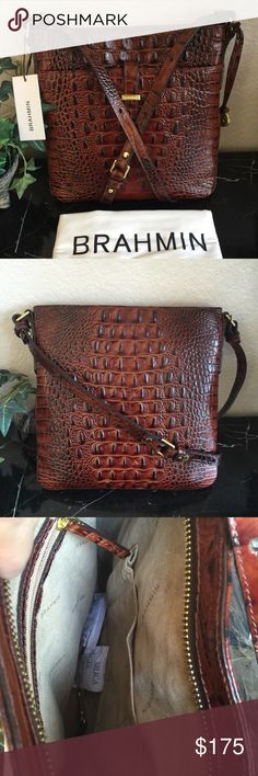 "KA-POWBRAHMIN PECAN ALL DAY CROSSBODY BAG NWT Brahmin Pecan Croc Melbourne ""All Day"" Crossbody Bag w/dust bag.   New w/attached tag     Approx. 10"" X 10"" X 1.5""  o Zip top closure  o Exterior: 1 front slip pocket with slip tab closure  o Interior: 1 front slip pocket, 1 back wall zip pocket  o Long Adjustable crossbody strap with 24"" drop  o Gold-tone hardware  o Croc Embossed Leather     Beautiful &Versatile Pecan Color! Go hands-free and love it!!  * measurements are approximate due to…"