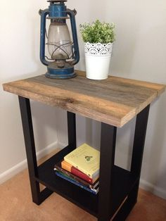Industrial style Pallet bedside table with  pine base painted in black.