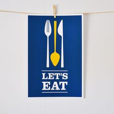 Lets Eat modern kitchen spoon fork knife by GraphicAnthology, $18.00