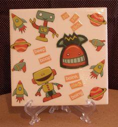 Boys Robot & Spaceship Wall Hanigng by CrazyDaisy12 on Etsy, $6.00