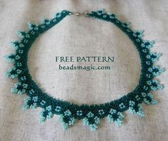 Free pattern for necklace Blue Cross
