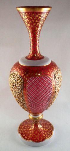 Rare Bohemian Cranberry Gilt Glass Vase