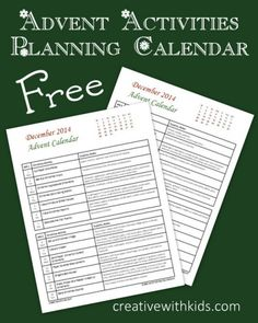 Free Christmas Planning Calendar for Advent Activities