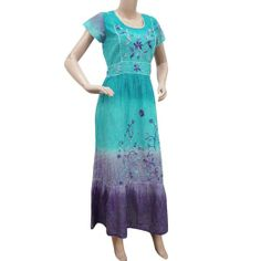 Blue Sun Dress Women Wear Cotton Maxi Short Sleeves Casual