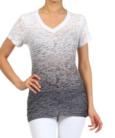 Look at this Sweet Girl Gray Ombré Burnout V-Neck Top on #zulily today!