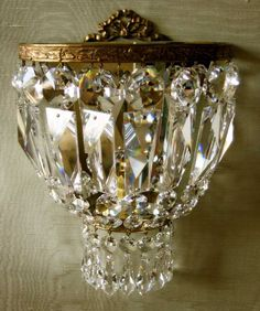 ormolu wall light - I have vintage Swedish crystal sconces something like this.vintage ormolu wall light - I have vintage Swedish crystal sconces something like this. Crystal Sconce, Crystal Wall, Chandelier Lamp, Chandeliers, French Chandelier, Glass Light Fixtures, Wall Fixtures, Sconces Living Room, Rustic Wall Sconces