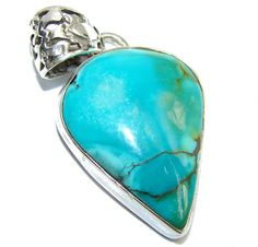 $71.85 Blue+Turquoise+Southwestern+Sterling+Silver+Pendant at www.SilverRushStyle.com #pendant #handmade #jewelry #silver #turquoise