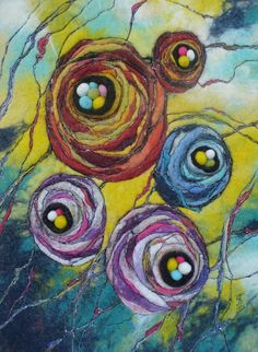 Items similar to Felt Picture. on Etsy Wet Felting, Needle Felting, Felt Pictures, Wool Art, Textiles, How To Make Ribbon, Felt Art, Decorative Cushions, Amazing Flowers