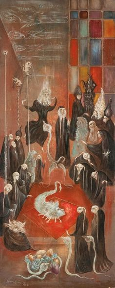 Leonora Carrington - Ritual, 1964. At first I could barely believe this was from '64, looks totally Hieronymous Bosch