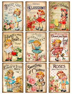 Digital Collage Sheet, Printable Vintage Sheet Music Girls, Instant Download, 9…