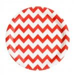 Red and White Chevron Paper Plates from Meri Meri- and found in our Ahoy There! Mini Party Kit