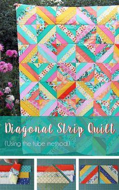 Free Diagonal Strip Quilt in 5 sizes