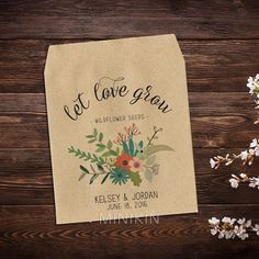 Wedding Seed Favors Wedding Seed Packet Seed Packet Favor Let Love Grow Rustic Wedding Wildflower Seeds Bridal Shower Favor x 25 Back Message, Seed Wedding Favors, Wedding Bells, Wildflower Seeds, Custom Fonts, Seed Packets, Wedding Flowers, Boho Wedding, Wedding Ideas