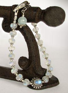 Rainbow Moonstone Bracelet - Aquamarine and Silver, Adjustable Length