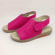 9e09a6bc2c94 Sandal Wedges Wanita Heels 3 cm Pink Fanta Asli Kulit Sapi