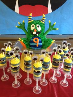 Lil monster cake with treat pops by Karen's Kaykes