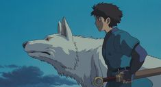 Studio Ghibli Stills - Princess Mononoke - Ashitaka and the wolf brother going to save San