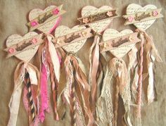Shabby Wands Decorated With Streamers, Velvet Ribbons,Vintage Papers, and Heart