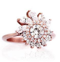 """""""Leda"""" Ring - Diamonds, Art Deco, Great Gatsby, custom made, engagement ring, anniversary ring, special occasion ring, cocktail ring, hand made to order, love, gold, rose gold, white gold, silver"""
