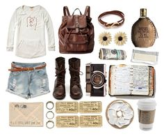 """""""Casual Sunday"""" by colyna ❤ liked on Polyvore featuring Scotch & Soda, FOSSIL, Forever 21, Rock 'N Rose, Gorjana, Peek, Diesel, leather backpacks, backpacks and sheer blouses"""