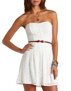 belted strapless lace dress but not that belt