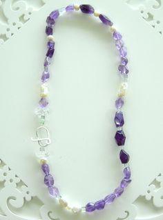 Colar de Ametista, Pérolas e Fluoritas - amethyst necklace