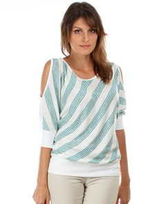 PLUS Size 2 Teal Diagonal Stripe Open Shoulder Blouse  Size 2X-  SALE $21.81 Free ship #Malva