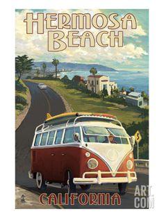 Redondo Beach, California - VW Van Cruise - Lantern Press Artwork (Art Print Available) Pismo Beach, Newport Beach, Laguna Beach, Hermosa Beach, Newport Oregon, Pub Vintage, Photo Vintage, Vintage Metal, Vintage Pink