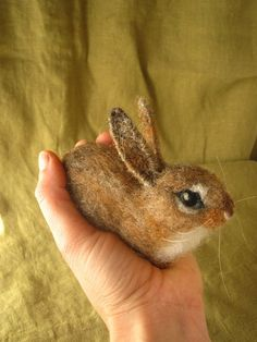 Baby cottontail bunny needle felted Easter decoration by Ainigmati, $74.00
