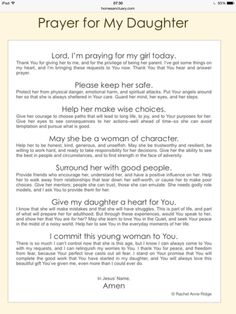 Prayers for our daughters