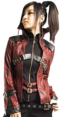 Punk Rave Red Gothic Jacket - Red Visual Kei Jacket