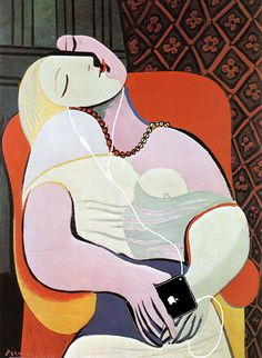 """""""The Dream"""" by Pablo Picasso / Illustrator Kim Dong-Kyu / Famous Paintings Updated With Gadgets Pablo Picasso, Picasso Art, Picasso Portraits, Picasso Paintings, Gadgets, Picasso The Dream, Van Gogh, Cubist Movement, Apple Art"""