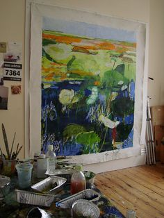 Changing Season on the wall by Caroline Havers/ artist studio Landscape Art, Landscape Paintings, Modern Art, Contemporary Art, Art Studio Design, Dream Art, Art Studios, Painting Inspiration, Flower Art